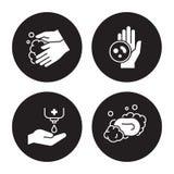 Hands hygiene icons set. White on a black background stock illustration