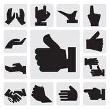 Hands icon. Vector black hands icon set on gray royalty free illustration