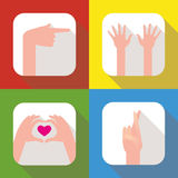 Hands icon set Stock Photography