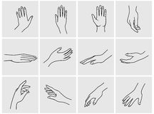 Hands icon set. Hand collection - vector line illustration Royalty Free Stock Photo