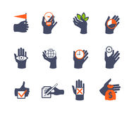 Hands icon set for website or application. Flat design Stock Image