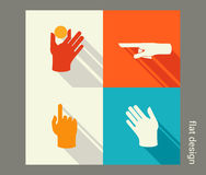 Hands icon set for website or application. Flat design Stock Photos