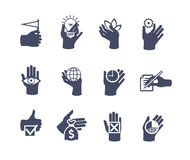 Hands icon set for website or application. Flat design Stock Images