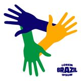 Hands Icon using Brazil flag colors Stock Images