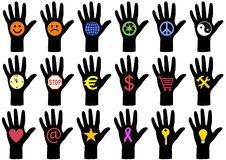 Hands with icons,  Royalty Free Stock Photo