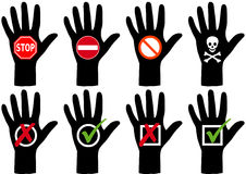 Hands with icons. Set of hand silhouettes with symbols Royalty Free Stock Photos