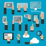 Hands icons with digital devices Stock Photos