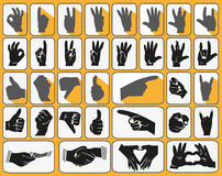 Hands icons. Image of black icons with human hands gesturing Royalty Free Stock Images