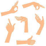 Hands icons in a realistic poses Stock Photo