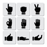 Hands Icons Set. Flat Design Vector illustration Royalty Free Stock Photo
