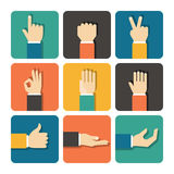 Hands Icons Set. Flat Design Vector illustration Stock Illustration