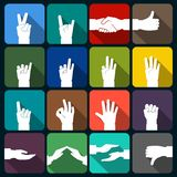 Hands icons set flat Royalty Free Stock Images