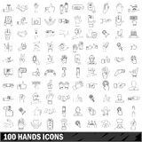 100 hands icons set, outline style Royalty Free Stock Images