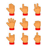 Hands Icons Set on White Background. Emoji Vector Stock Image