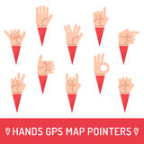 Hands icons vector set. Hands GPS map pointers. Royalty Free Stock Photo