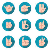 Hands icons vector set. Modern flat style. Stock Photography