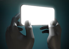 Hands And Illuminated Generic Smart Phone Stock Images
