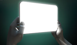 Hands And Illuminated Generic Tablet Stock Photo