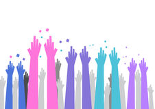 Hand and arms reaching out, jubilant. Illustration of colorful hands and arms, purple, blue, pink and black reaching out  or  jubilant, or throwing confetti