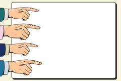 Hands index finger pointer poster vector illustration