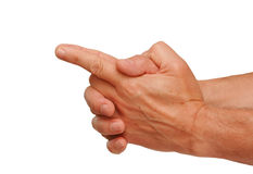 Hands with index finger pointing. Isolated on a white background Royalty Free Stock Photos