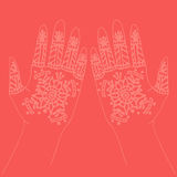 Hands with indian mehendi henna Stock Photo