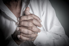 Hands. Indian Old Man In Prayer Stock Images