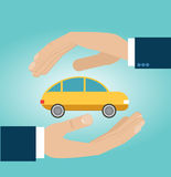 Hands insurance agent protects car. Concept car insurance. Vector illustration, flat design Stock Image