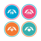 Hands insurance icons. Family life-assurance. Stock Photography