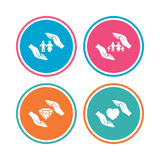Hands insurance icons. Family life-assurance. Royalty Free Stock Image