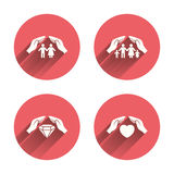 Hands insurance icons. Family life-assurance Stock Image