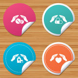 Hands insurance icons. Health medical pills. Stock Image