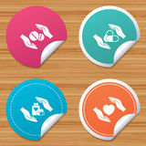 Hands insurance icons. Health medical pills. Royalty Free Stock Images