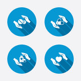 Hands insurance icons. Health medical pills Royalty Free Stock Photos