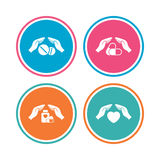 Hands insurance icons. Health medical pills. Stock Photos
