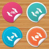Hands insurance icons. Human life-assurance. Stock Image