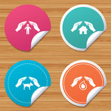 Hands insurance icons. Human life-assurance sign. Stock Image