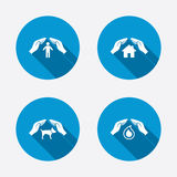 Hands insurance icons. Human life-assurance sign Stock Photo