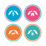 Hands insurance icons. Human life-assurance sign. Stock Images