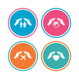 Hands insurance icons. Human life-assurance. Royalty Free Stock Photos