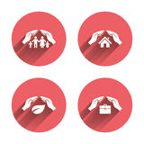 Hands insurance icons. Human life-assurance Royalty Free Stock Photos