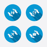 Hands insurance icons. Human life-assurance Stock Images
