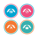 Hands insurance icons. Human life-assurance. Royalty Free Stock Photography