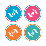 Hands insurance icons. Money savings sign. Stock Image