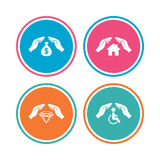 Hands insurance icons. Money savings sign. Royalty Free Stock Image