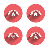 Hands insurance icons. Money savings sign Stock Images
