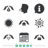 Hands insurance icons. Money savings sign. Hands insurance icons. Money bag savings insurance symbols. Jewelry diamond symbol. House property insurance sign royalty free illustration