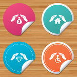 Hands insurance icons. Money savings sign. Stock Images