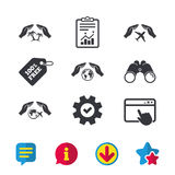Hands insurance icons. Travel trip flights. Royalty Free Stock Photography