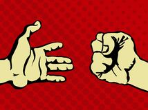 Hands. The interaction between the two hands while anger royalty free illustration